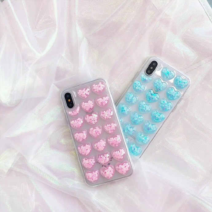 3D Hearts Liquid Silicone Rubber Shockproof Case For iPhone 7/7P/8/8P/X/XS