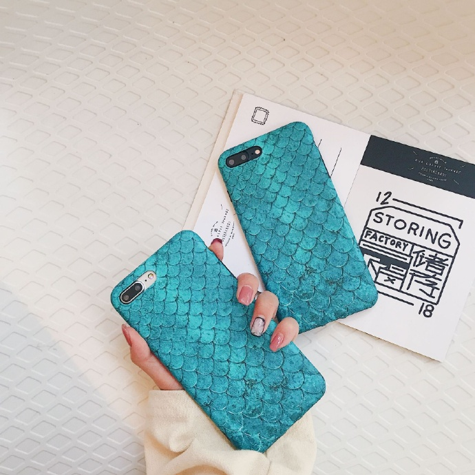 Blue Fish Scale Liquid Silicone Rubber Shockproof Case For iPhone 7/7P/8/8P/X/XS/XR