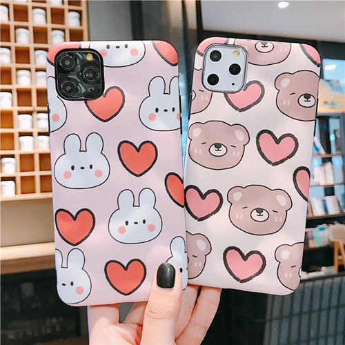 Cute Bear Lover Liquid Silicone Rubber Shockproof Case For iPhone 11 Pro