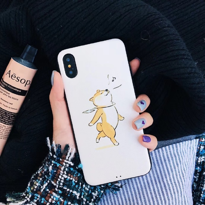 Cute Dog Liquid Silicone Rubber Shockproof Case For iPhone 7/7P/8/8P/X/XS