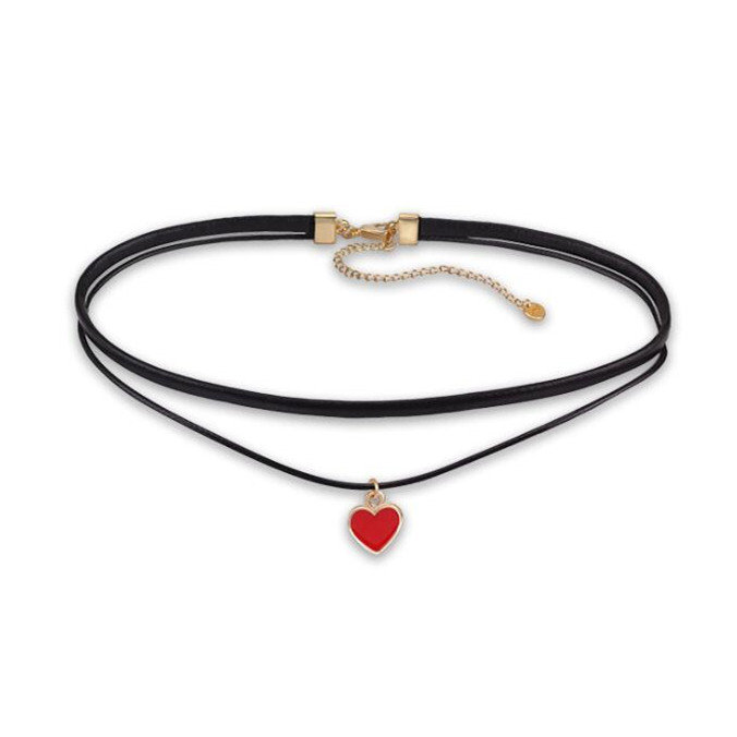 Double Layer Love Heart Choker Necklace