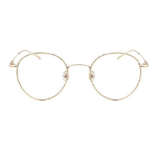 #GLS10031-C29(Rose Gold)-Chic Vintage Oval Glimmer Metal Prescription Glasses