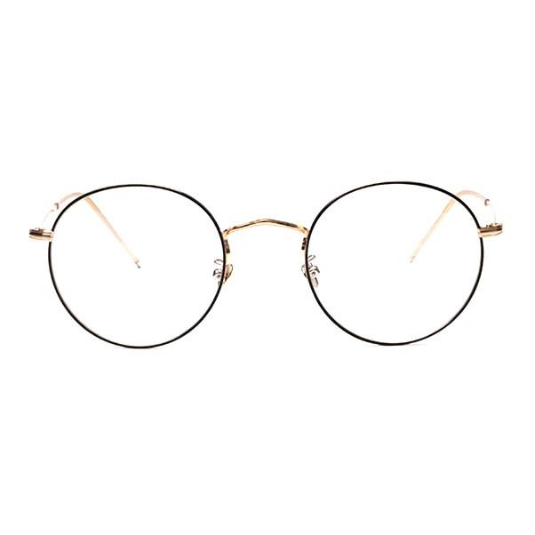 #GLS22107-C1(Gold/Black)-Chic Vintage Round Metal Prescription Glasses