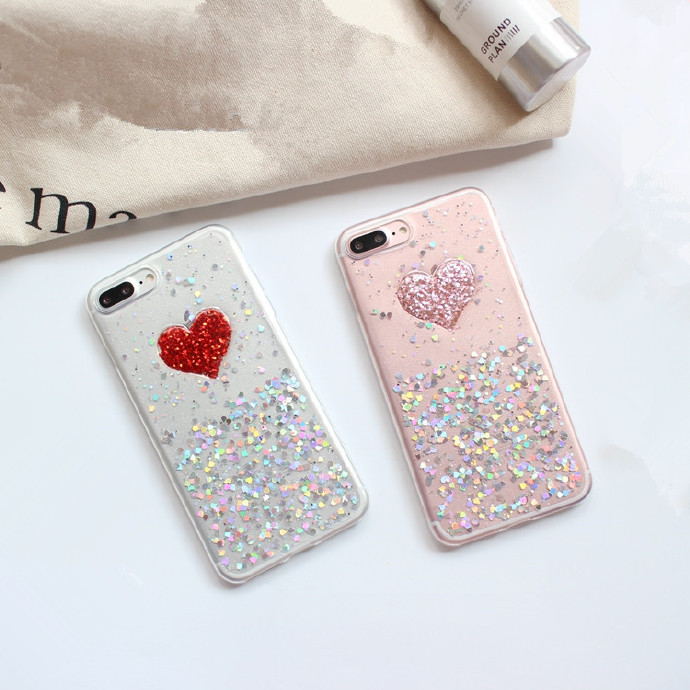Heart Flakes Liquid Silicone Rubber Shockproof Case For iPhone 7/7P/8/8P/X/XS