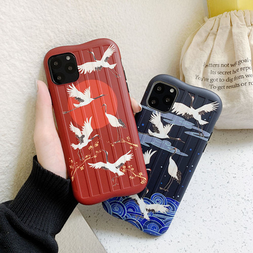 Japanese Crane Liquid Silicone Rubber Shockproof Case For iPhone 11 Pro