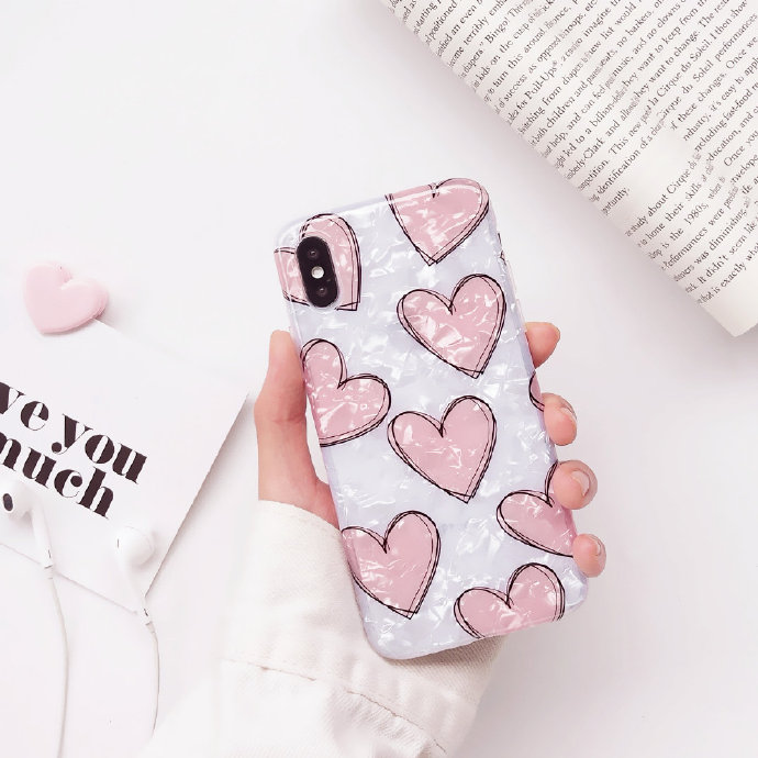Pink Heart Liquid Silicone Rubber Shockproof Case For iPhone 7/7P/8/8P/X/XS/XR/MAX