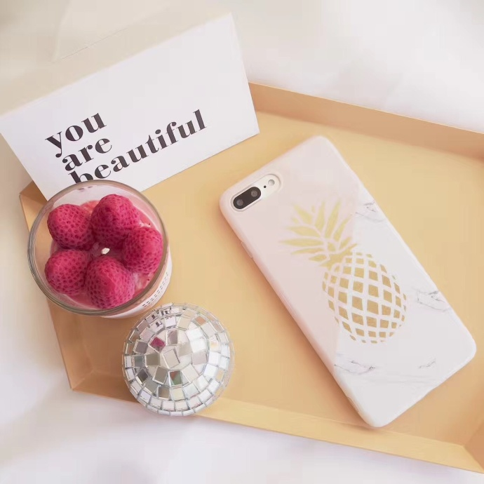 Pink Pineapple Liquid Silicone Rubber Shockproof Case For iPhone 7/7P/8/8P/X/XS